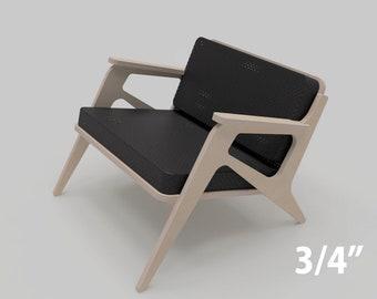 "Chair Nuevo  (3/4"" plywood furniture, CNC files, scandinavian design)"