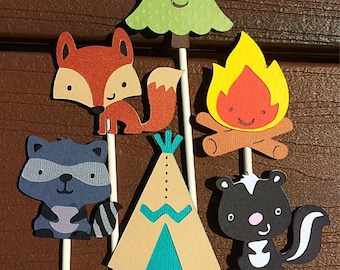 12 Camping Cupcake Toppers Forest Friends Birthday Owl Woodland Animals Wilderness  Camping Woodland Critters Fawn Boy Scout