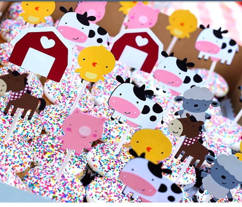Barnyard Cupcake Toppers Birthday Birthday Banner Barnyard Party Farm Animals Tractor Personalized NAME Banner Farm Animals