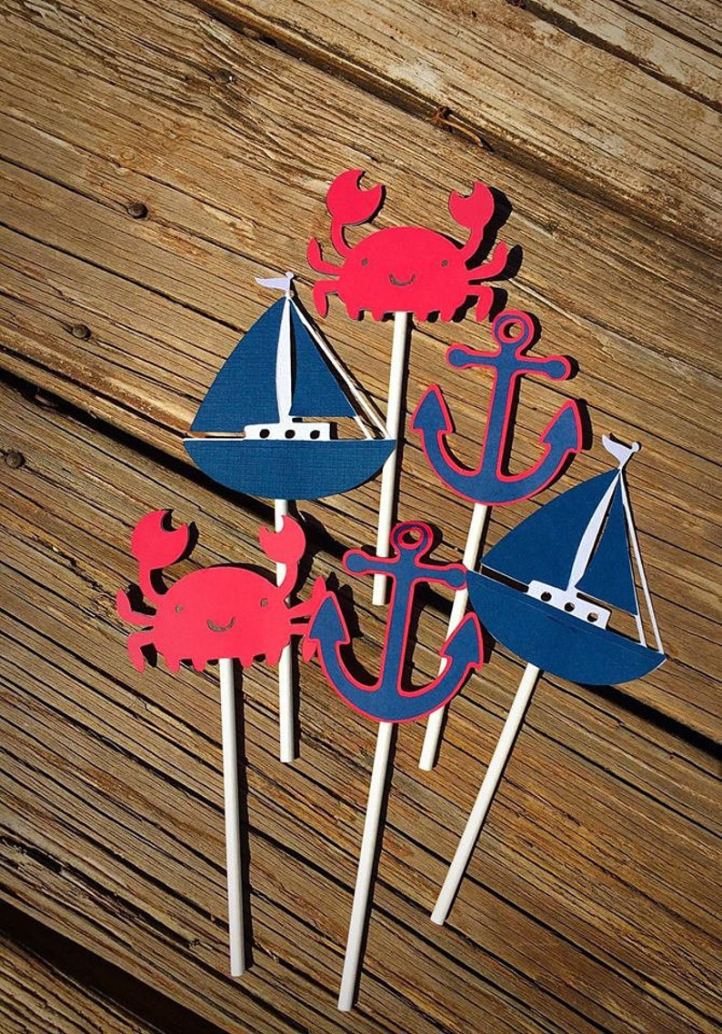 Anchor Whale Nautical Party Nautical Centerpiece Sticks Its a girl Banner Nautical Party Decor Nautical Baby Shower Party Picks