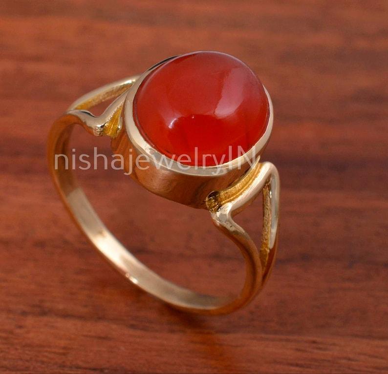 Carnelian Ring,Carnelian Stone Ring,Brass Ring,Handmade Ring,Statement Ring,Unique Ring,Women Ring