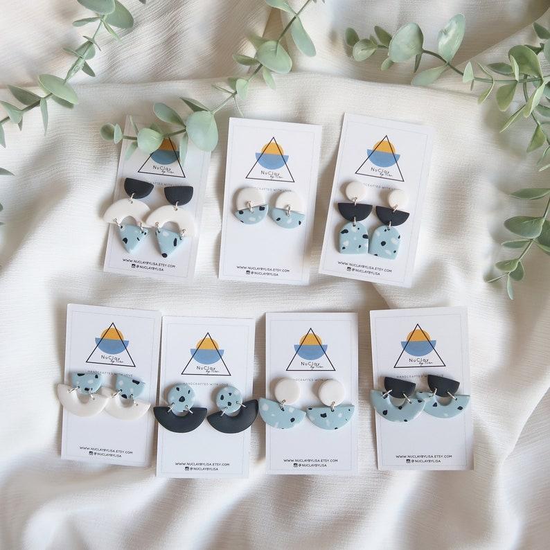 Geometric Statement Earrings Handmade Polymer Clay Earrings Terrazzo Style Earrings