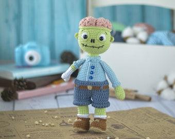 Zombie boy, zombie toy, crochet zombie, doll zombie, amigurumi zombie, gift for halloween, cute zombie, toy for halloween, the walking dead
