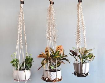 indoor hanging plant hangar,leather plant hammock hanging, indoor jungle air plant hanger, macrame plant holder, minimal planter hygge decor