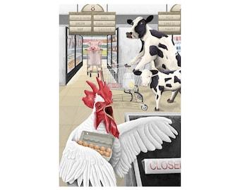 Grocery Store & Farm Animals Illustration Art Print