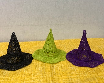 Lighted Lace Witches Hat - Approx. 5 IN. tall