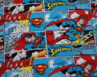 """Superman Fabric Material Cotton Soft Flannel Comic Superhero 1/4 Yard 9"""" x 44""""   Perfect for Face Masks or Crafts"""