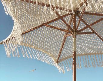 crochet macrame umbrella with fringe - venice 6' día