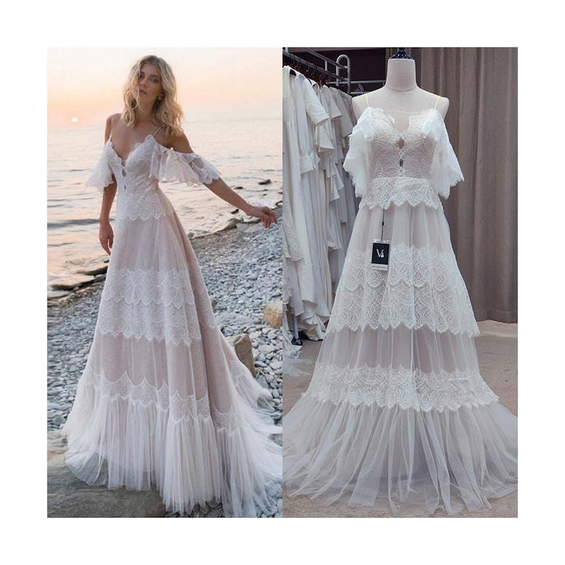 Bohemian Lace Wedding Dress Bohemian Beach Wedding Dress image 0
