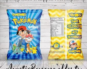 Pokemon Chip Bag Labels,Pokemon Snack Bag Boy Chips Bag Pokemon Chips Bag Pokemon Party Favors Birthday boy Favors Pokemon Snack Bag