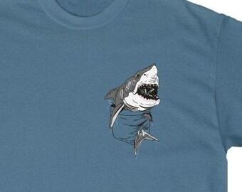 Surfer Tee KIDS MENS WOMENS Funny Shark Shirt Little Shark Ocean T-shirt Shark Pocket Tee Jaws T shirt Fishing Tshirt Cute Shark