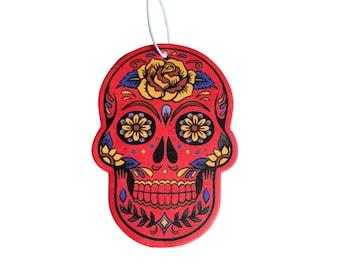 Bohemian Red Skull - Car Air Freshener - Apple  Scent - Pop Culture Gag Gift - Birthday Gift- Car Accessory Hanging Car Air Freshener
