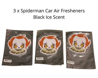 3 x Pennywise Clown IT Scary Movie - Car Air Freshener - Black Ice Scent - Extra Thick - Long Lasting - Large - Hanging Car Air Freshener