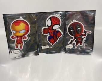 The Unlikely Avengers - Ironman, Deadpool, Spiderman Car Air Fresheners 3 Pack - Extra Thick - Pop Culture - Funny Gag Gift - Car Accessory