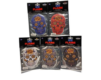 5 Bohemian Party Skulls- Car Air Freshener - 5 Colors - 5 Scents - Extra Thick - Long Lasting - Large - 10cm - Hanging Car Air Freshener