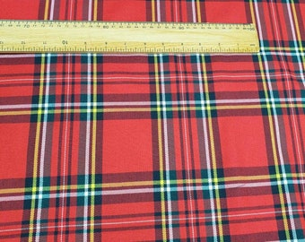 classIc RED tartan PLAID check poly viscose fabric material craft dress wide