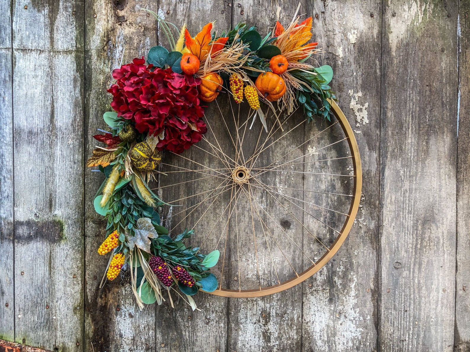 Fall Floral Bicycle Wheel Wreaths