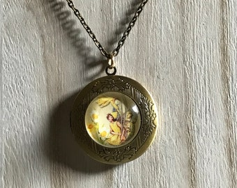 Antique Brass Fairy House Locket Necklace with Fairy Wings for Fairy Lovers Vintage Dragon House Locket with Dragon Wings Handmade Gift