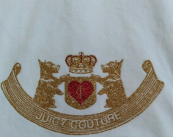 Y2K Era Juicy Couture Zip Sweatshirt Glitter Scotty Dogs Med cream velour