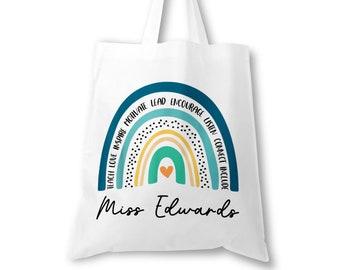 Personalised Teacher Bag, Custom Teacher Tote Bag, Any Name, Rainbow Tote Bag, Teacher Gift, School Leaving Gift for Teacher, Graduation