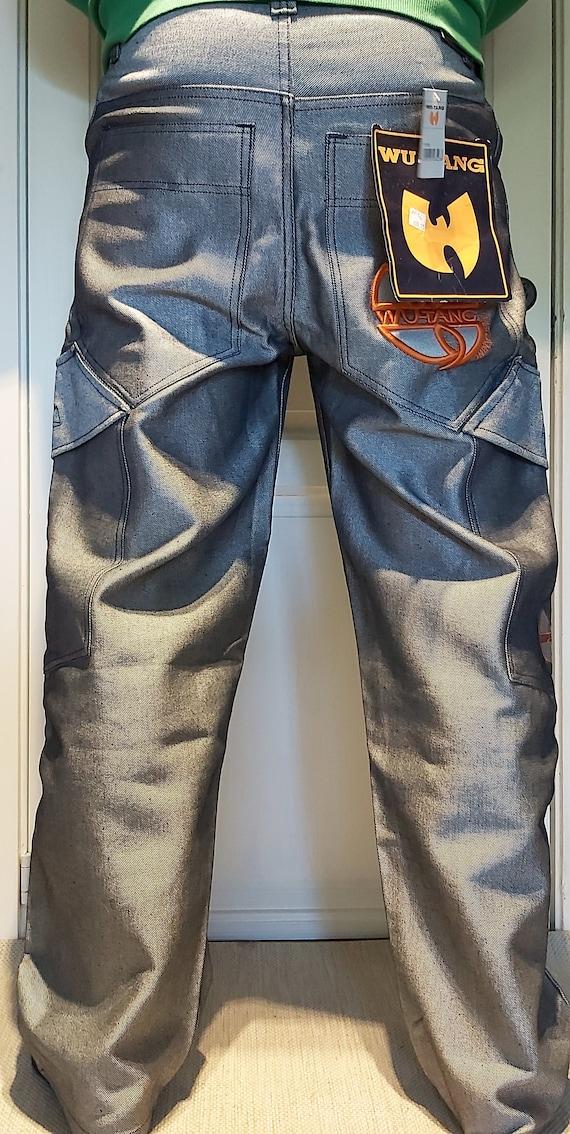 WU-TANG - W38 - Silver Baggy Jeans Metallic 90s RA