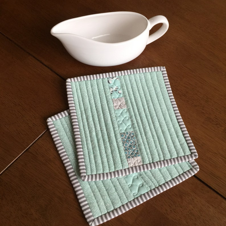 housewarming gift trivet Quilted potholders aqua original design modern kitchen cream /& gray pieced and custom quilted hostess gift