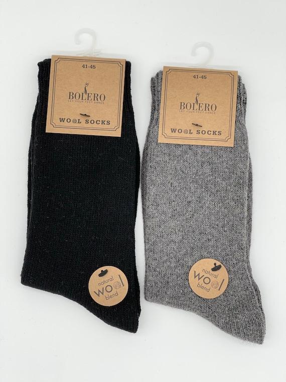 2 Pairs Men Winter Wool Rich SocksGift SocksThermal SocksBlackGrey