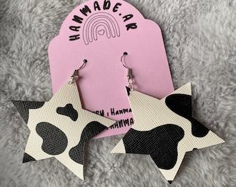 Cow Print Star Earrings