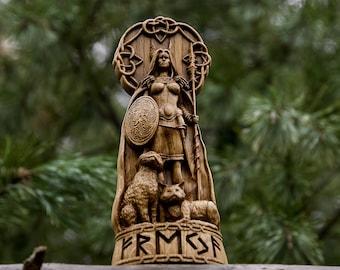 Freya, God viking, god Wood carved Freyja statue Pagan paganism God Altar sculpture