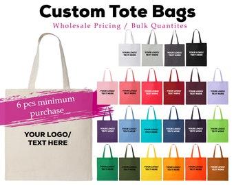 Custom Canvas Tote Bags, Bulk Tote Bags, Economic Wholesale Totes,  Cotton Reusable Bag (6 pieces MINUMUM purchase, price is PER bag)