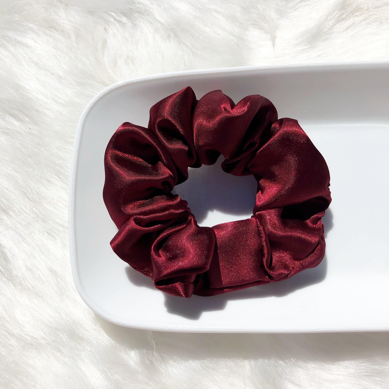 Burgundy Satin Scrunchie Luxurious Scrunchies Boho Chic Satin Hair Tie
