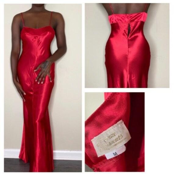 Vintage Red Satin Full Length Slip Dress - image 2