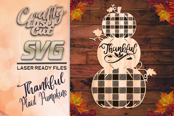 Stacked Plaid Pumpkin Svg Files Pumpkin Glowforge Files Etsy