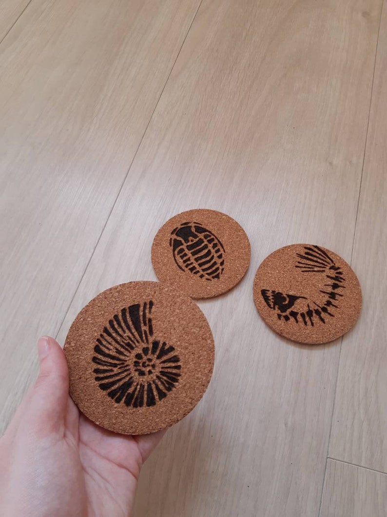 Woodburned fossil coaster set parents gift cork coasters house warming gift nature coasters prehistoric theme pyrography coasters