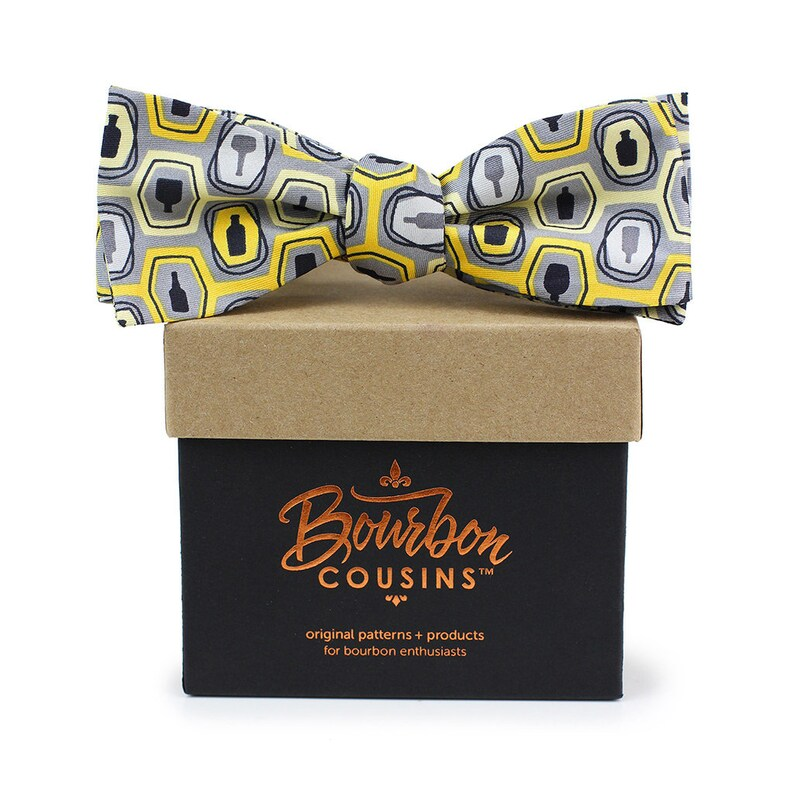 for Whiskey lovers /& Weddings too...sharp Groomsmen Best Man gift Gray Bourbon Fest\u00a9 Bow Tie for bartenders and the racetrack Gold