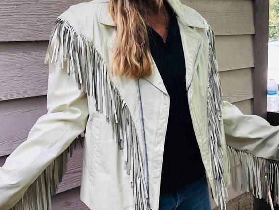 Vintage White Fringe Leather Women's Size Large ~C