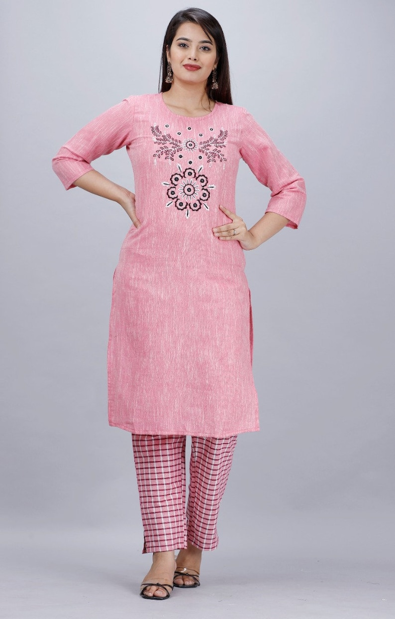 cotton Indian Bollywood Designer Women Beautiful Embroidery Work cotton Fabric Kurtis With Embroidered Pant Wedding Dress