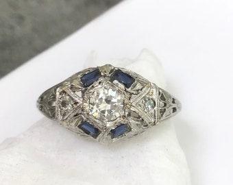 Circa 1920/'s Estate Art Deco Ring Filigree Vintage Bow Style Ring Baguette Cut Aquamarine Diamond Wedding Ring Woman/'s Engagement Ring