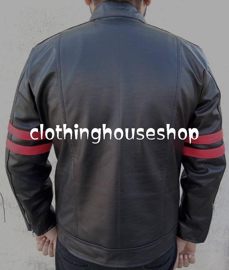 Monza Black /& Red Leather Biker Jacket