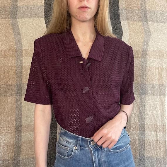 VTG Mesh Short Sleeve Button Down Shirt - image 1