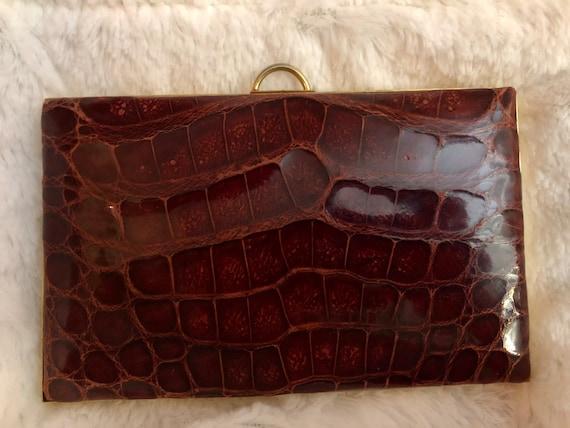 Vintage alligator compact purse
