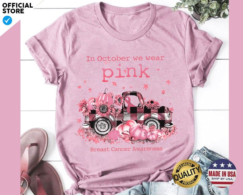 In October We Wear Pink Breast Cancer Awareness T-Shirt Masswerks Store