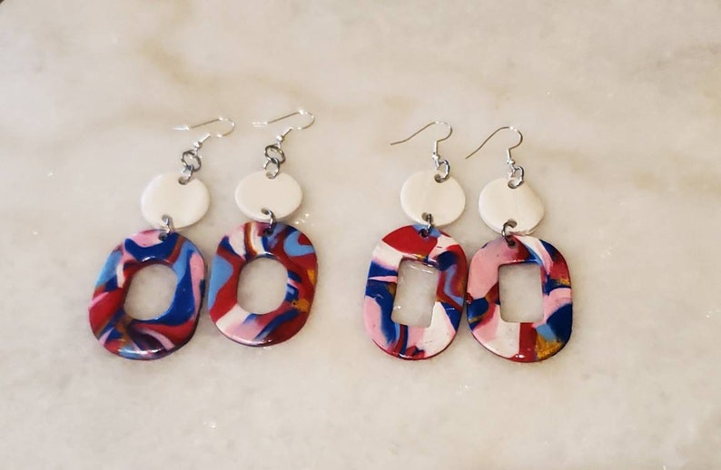 oval circle pink and white Polymerclay dangle drop statement earrings sterling silver Irresistible splatter