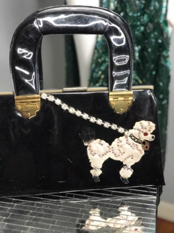 1950s Bad-Girl Shiny Black Patent Leather Purse w