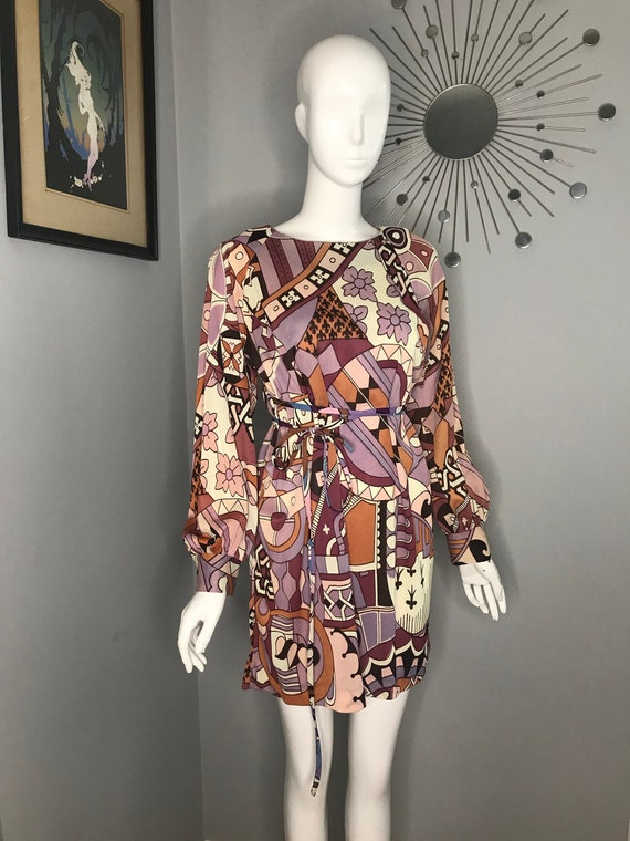 Vintage 1960s Psychedelic Print Mini Dress Size 4/