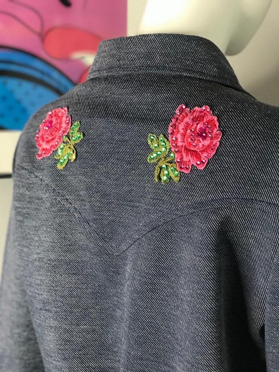 Vintage H Bar C Western Ranchwear Pink Roses Cowgi