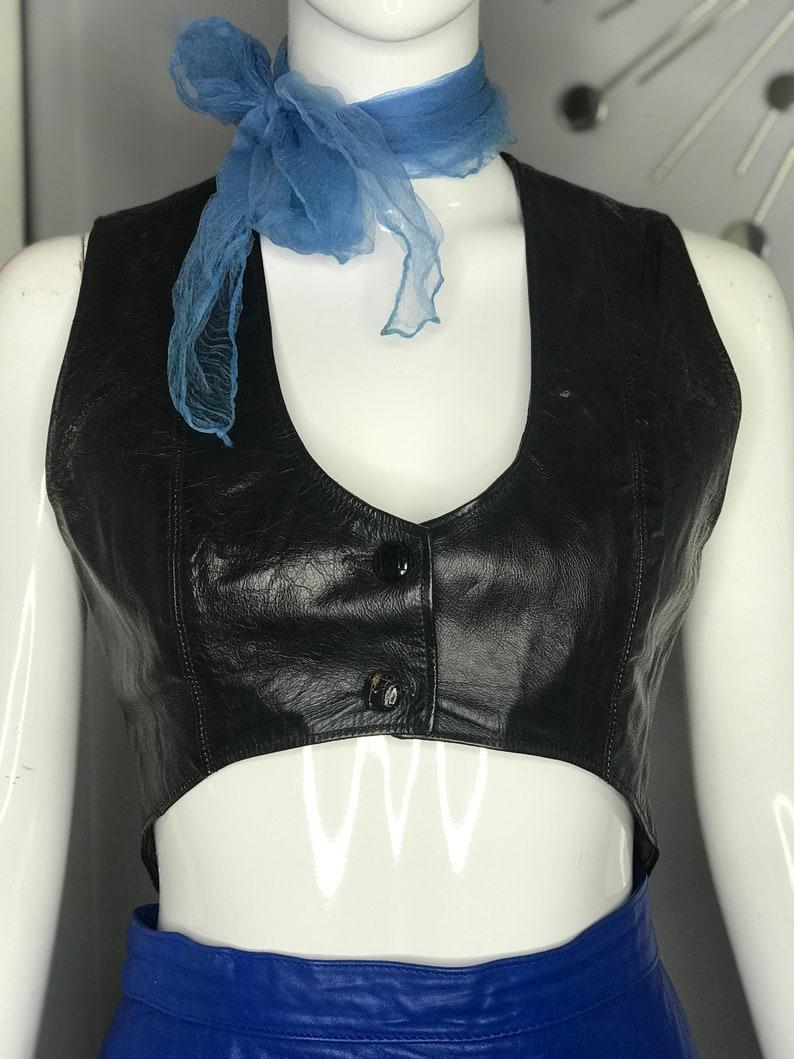 Vintage Bad Girl Biker Babe Christelle Archer Cropped Leather Vest