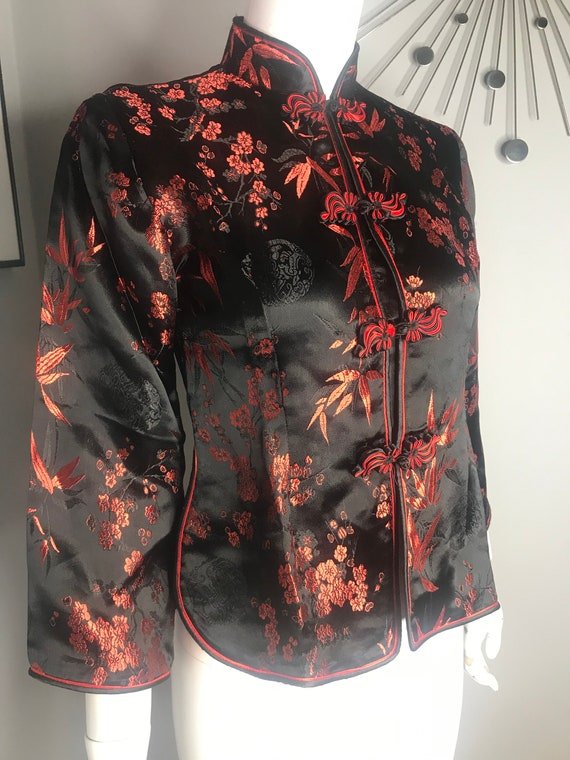 Vintage 90s Cheongsam Style Red and Black Chinese