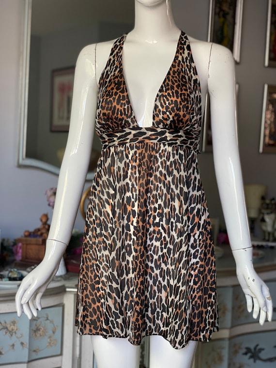 Vintage 60s/70s Nylon Leopard Babydoll Dress Nigh… - image 1