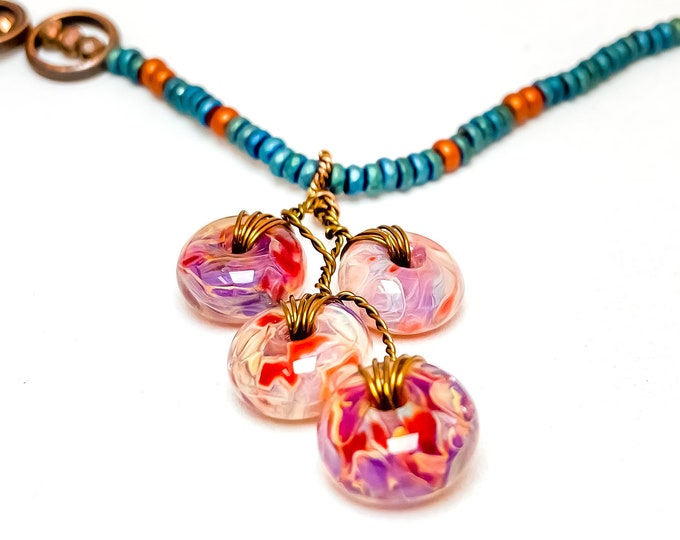 Hand Blown Glass Bead Necklace Colorful Wire Wrapped Glass Bead Pendant